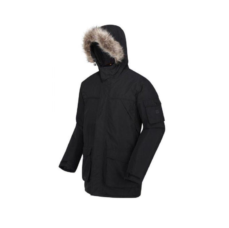Men's Fur Trimmed Black Parka Jacket