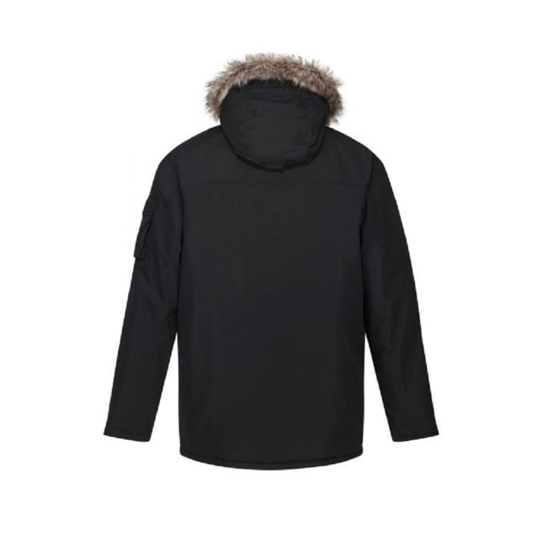 Men's Fur Trimmed Black Parka Jackets-