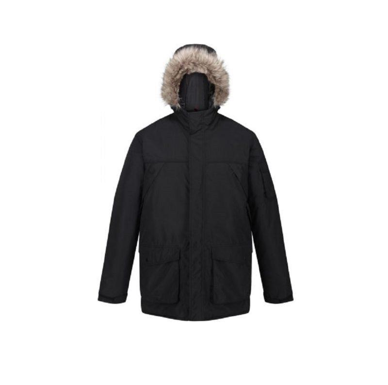 Men's Fur Trimmed Black Parka Jackets