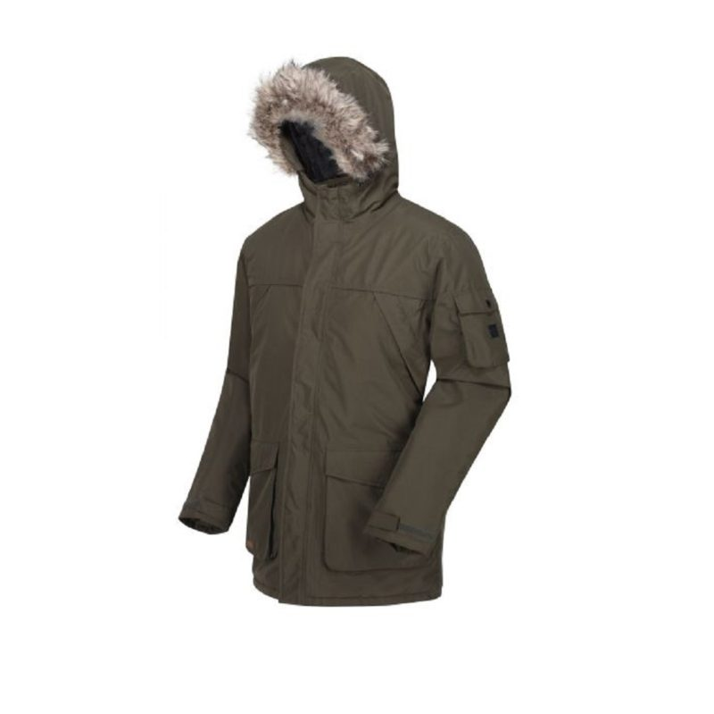 Men's Fur Trimmed Khaki Parka Jacket