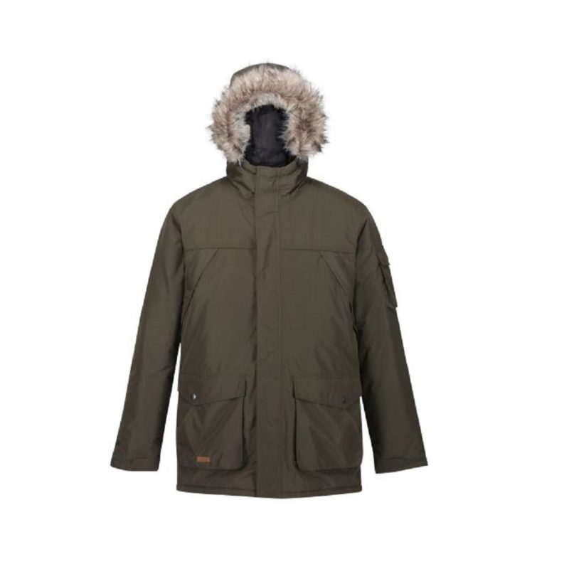 Men's Fur Trimmed Khaki Parka Jackets