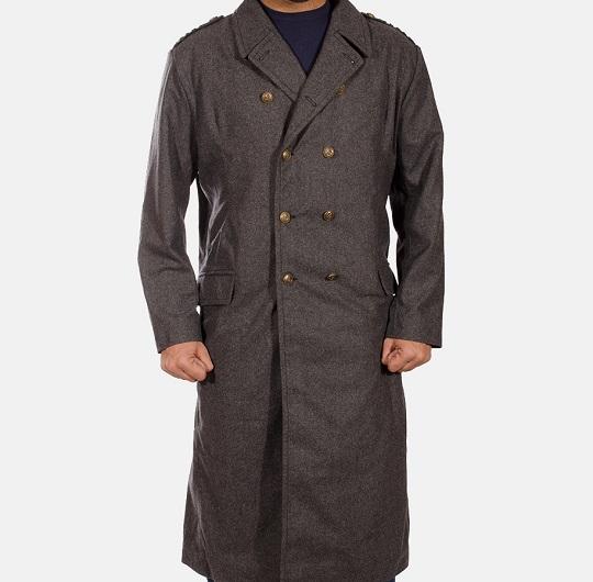 Mens Grey Long Peacoat Wool