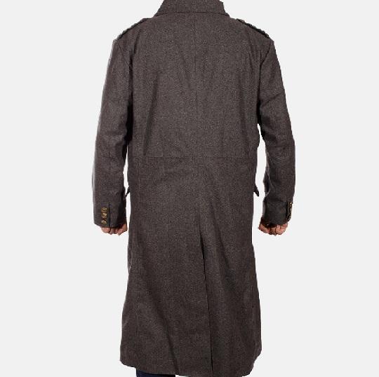 Mens Grey Wool Peacoat-