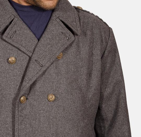 Mens Grey Wool Peacoat
