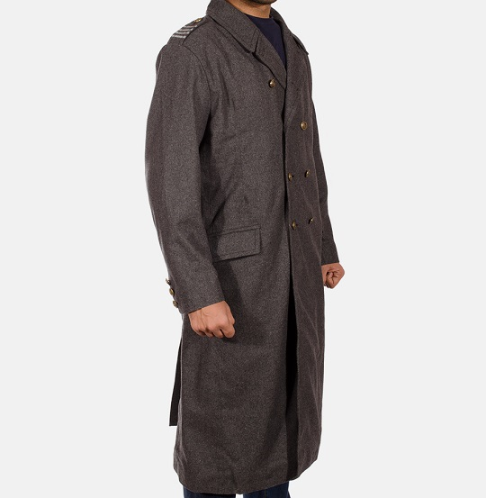 Mens Grey Wool Peacoat_