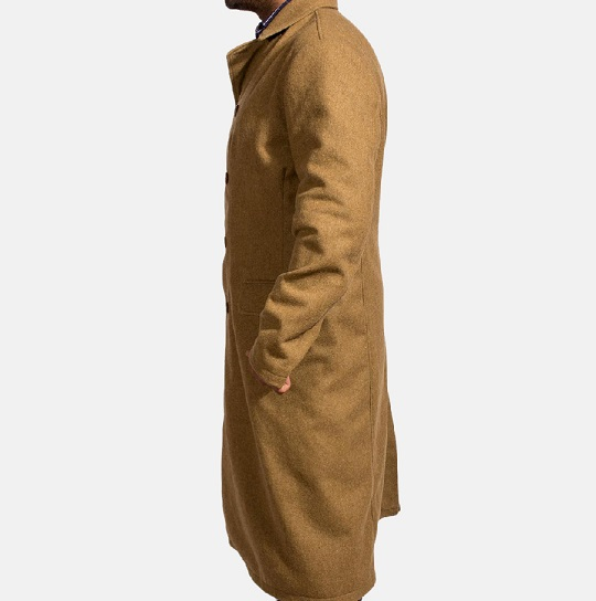 Mens Khaki Wool Long Peacoat