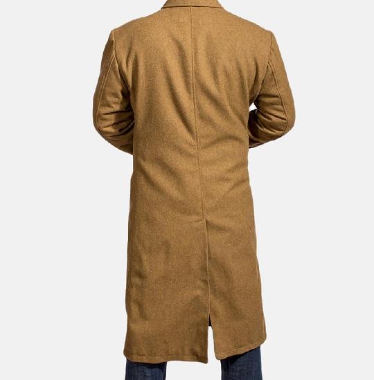 Mens Khaki Wool Peacoat-
