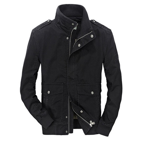 Mens Military Outdoor Black Casual Field Jacket