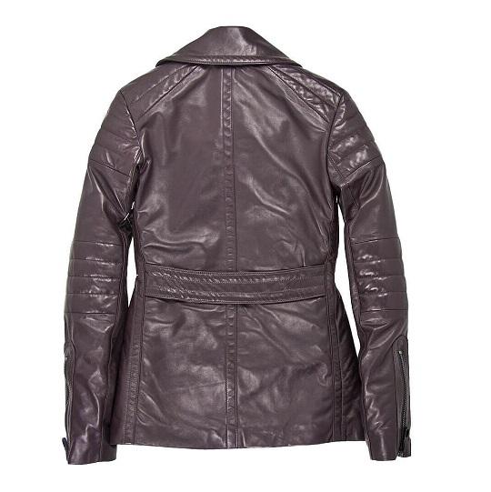 Men's Naval Grey Short Leather Peacoat –