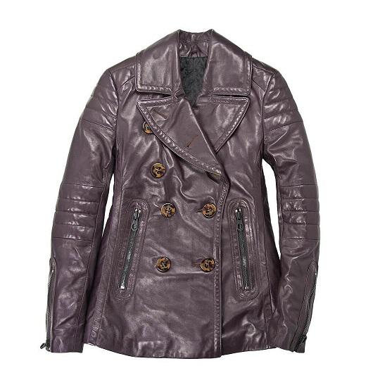 Men's Naval Grey Short Leather Peacoat