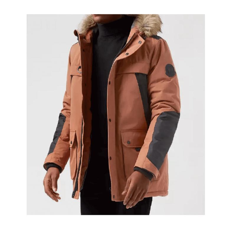 Men's Orange Fur Parka Jacket-