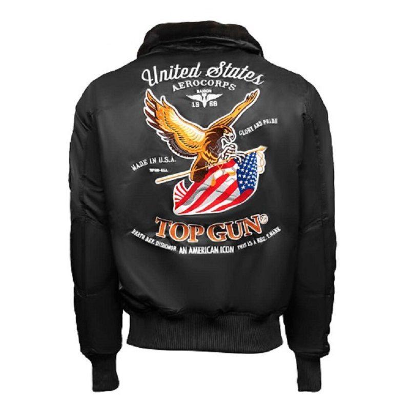 Mens Top Gun Eagle CW45 Black Jacket-