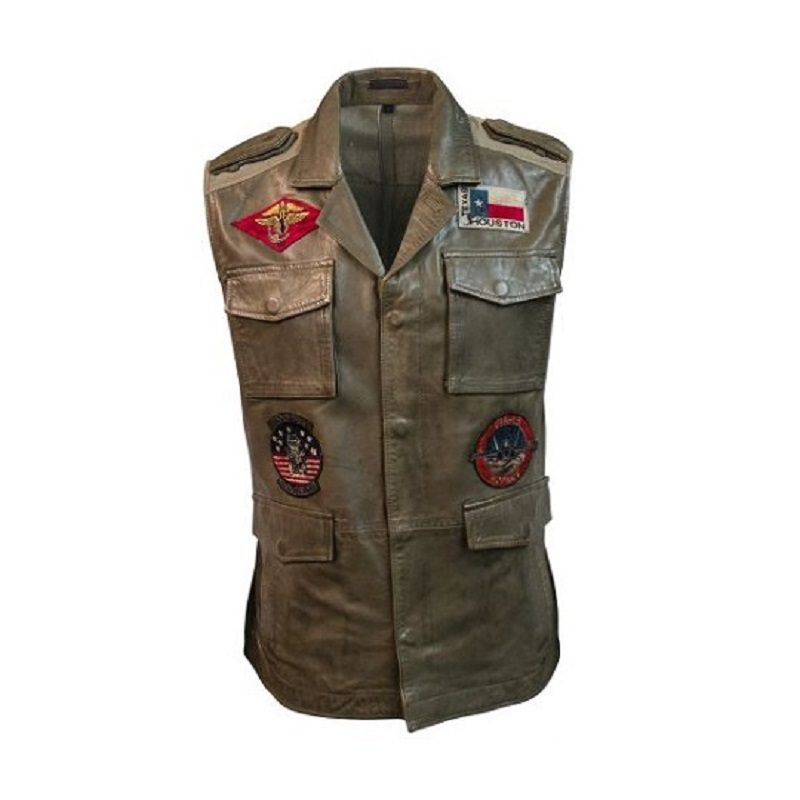 Mens Top Gun Leather olive Vest