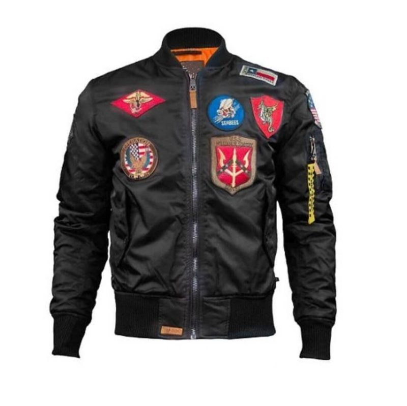 Mens Top Gun Nylon Black MA-1 Jacket