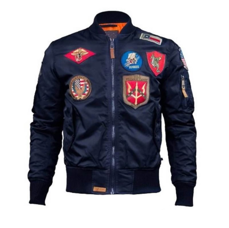 Mens Top Gun Nylon Blue MA-1 Jacket