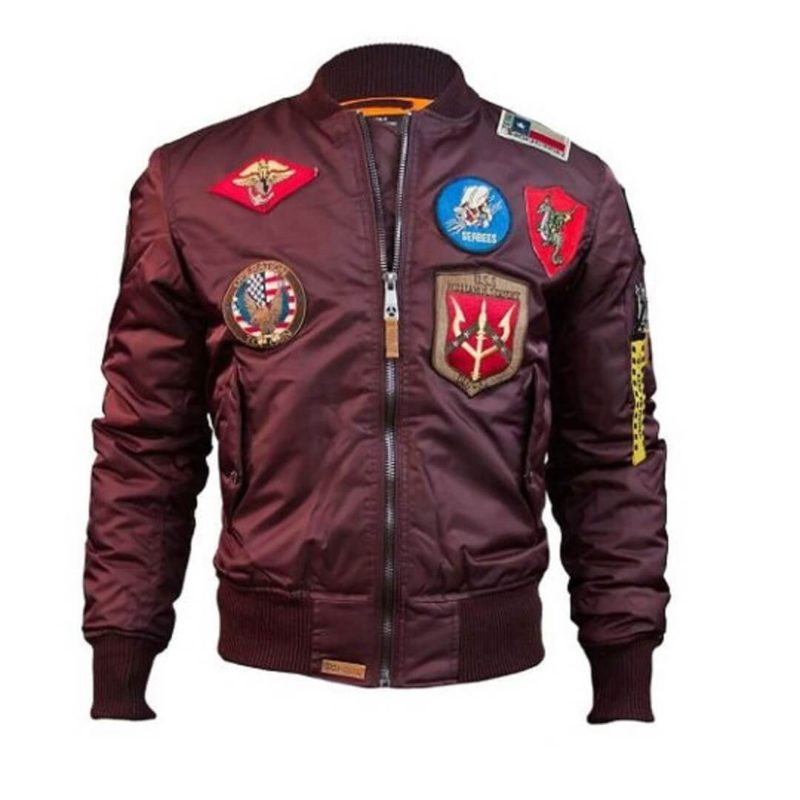 Mens Top Gun Nylon Burgendy MA-1 Jacket