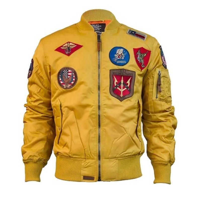 Mens Top Gun Nylon Yellow MA-1 Jacket