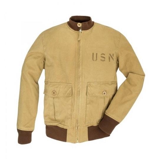 Mens US Navy Beige Cotton Bomber Jacket