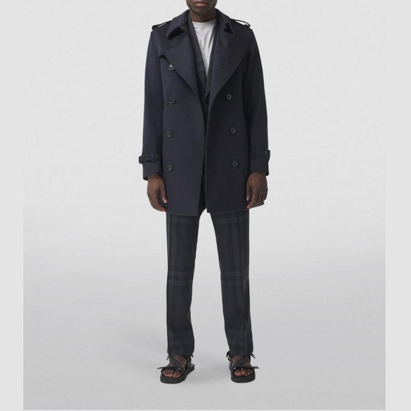 Mens Wool Blue Long Trench Coat-