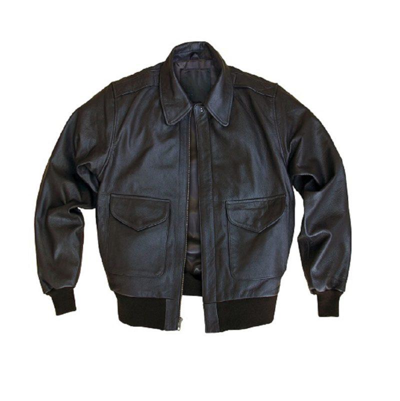 Mens goatskin Leather Bomber Jacket