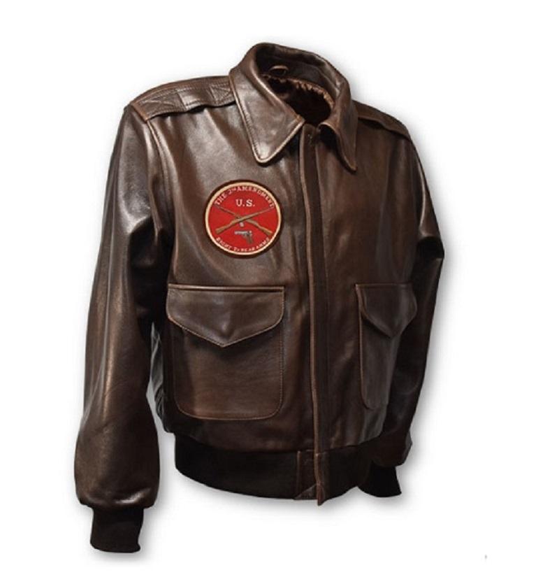 Mens second amendment A-2 Leather Jacket-