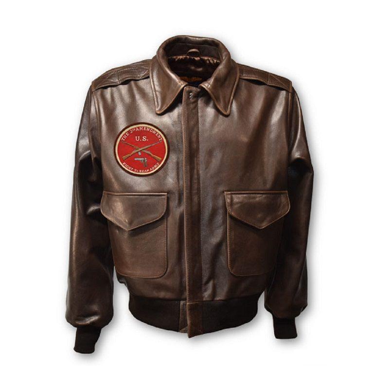 Mens second amendment A-2 Leather Jacket