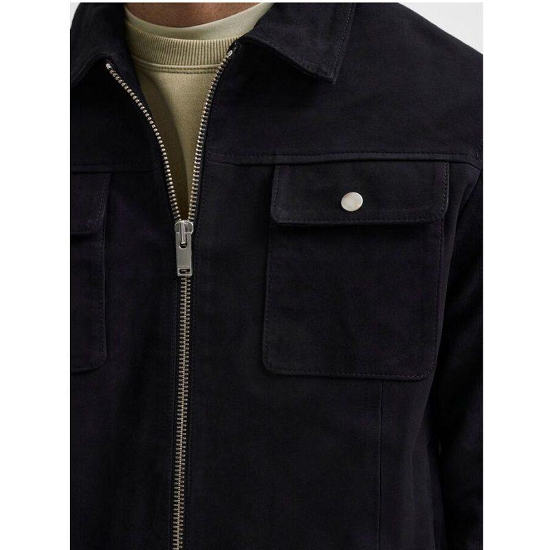 Two Way Zip Suede Jacket-