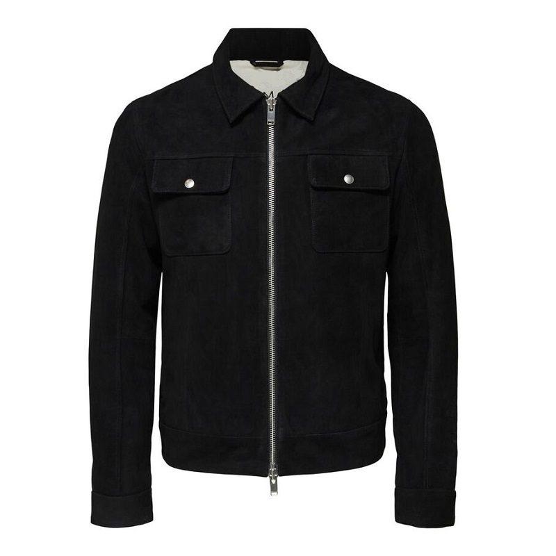 Two Way Zip Suede Jacket
