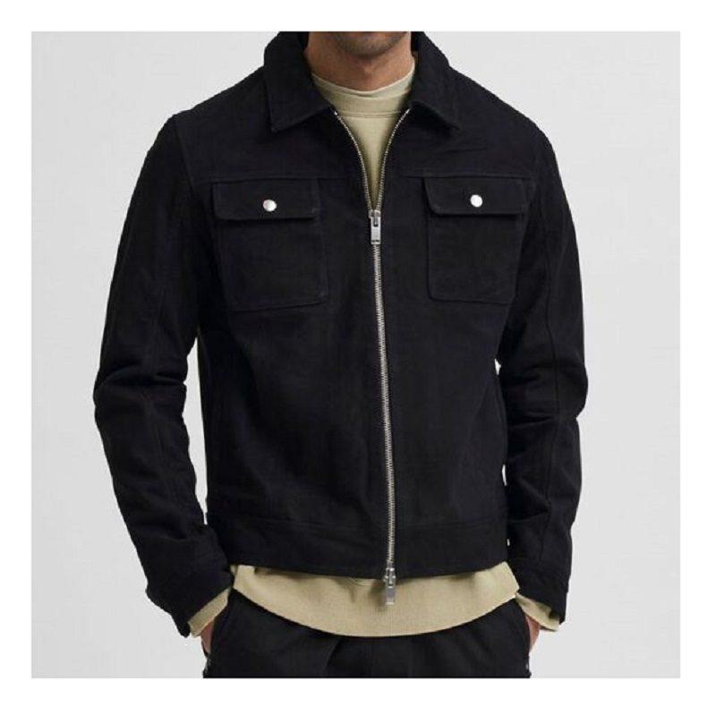 Two Way Zip Suede Jacket.