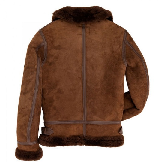 Women B-3 Bomber Chocolate Brown Suede Leather Jacket-