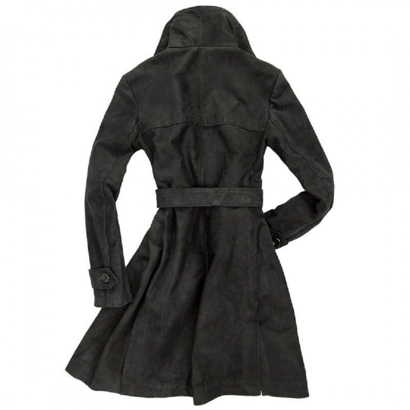 Womens-Amelia-Black-Suede-Trench-Coat.-