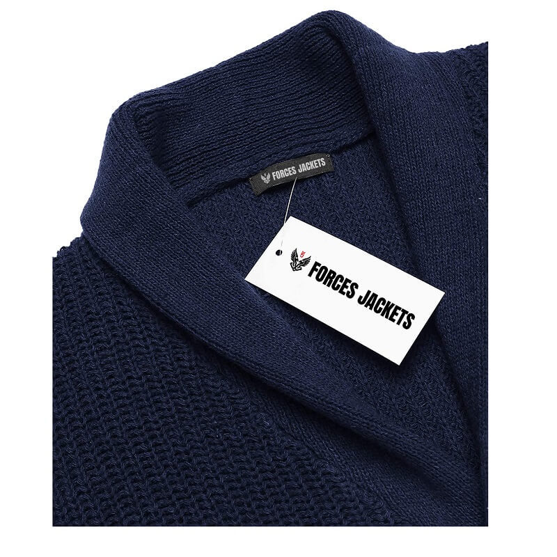 COOFANDY Men's Shawl Collar Cardigan Blue Sweater