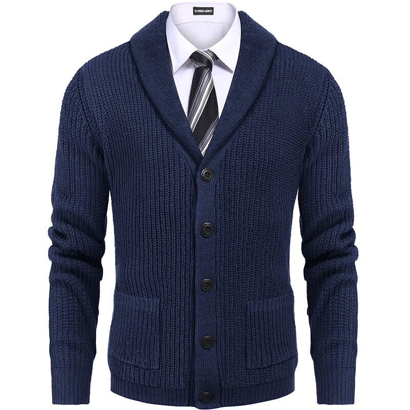 COOFANDY Men's Shawl Collar Cardigan Sweater Slim Fit Cable Knit Button