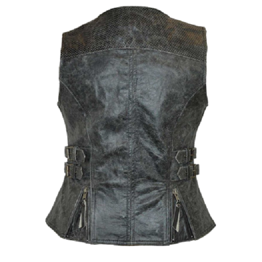 Distressed Grey Vest With Buckles-