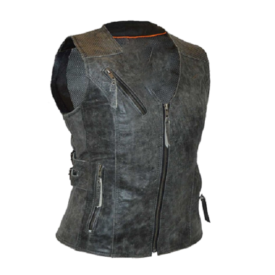 Distressed Grey Vest With Buckles