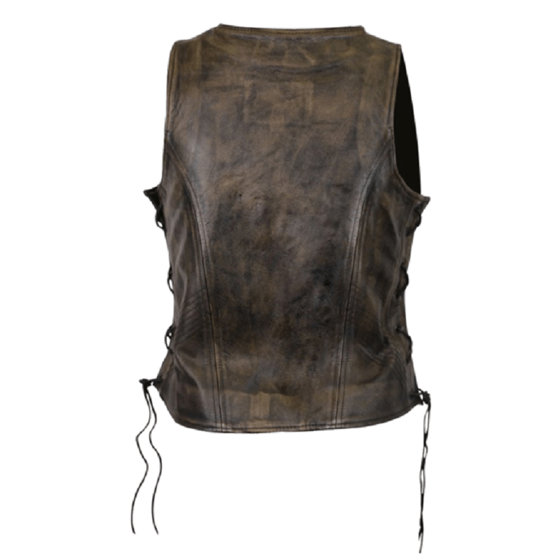 Distressed brown side lace leather vest-