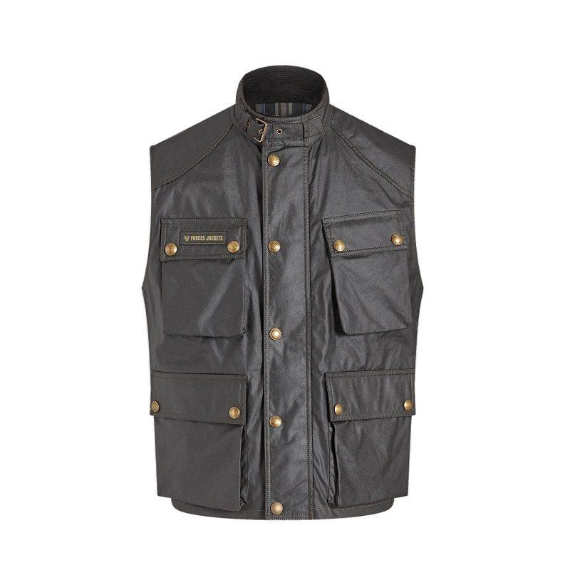 Men's Black Cotton Waxed Vest