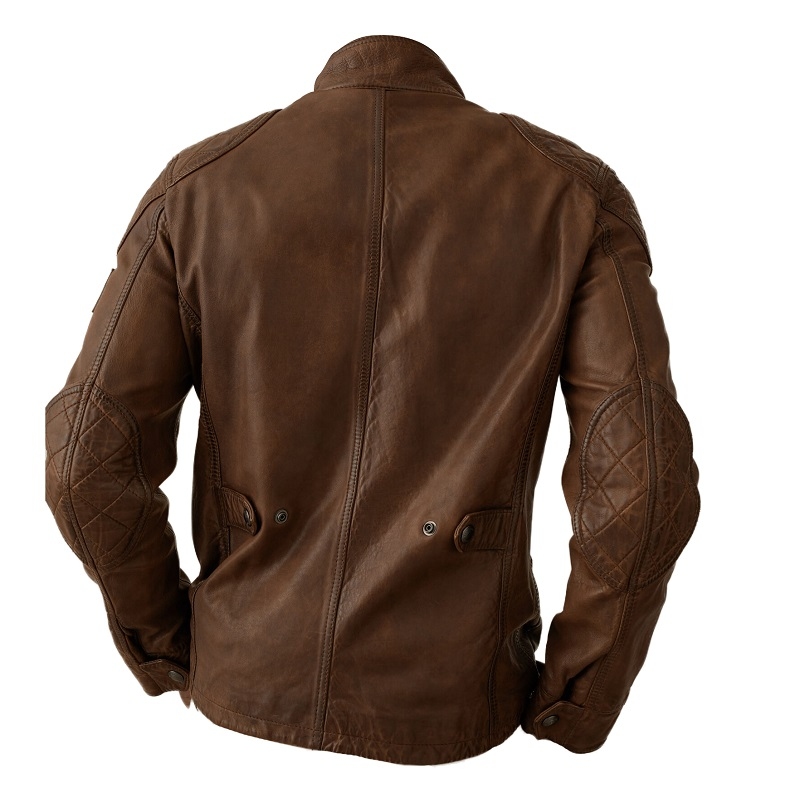 Mens Brown Leather Field Jacket-