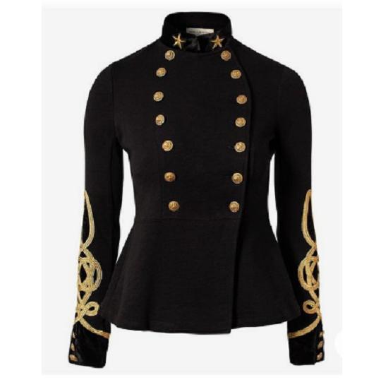 Military Parade Black Wool Blend Jacket