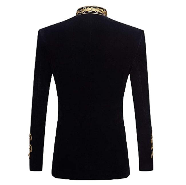 Military Velvet Black Steampunk Jacket-