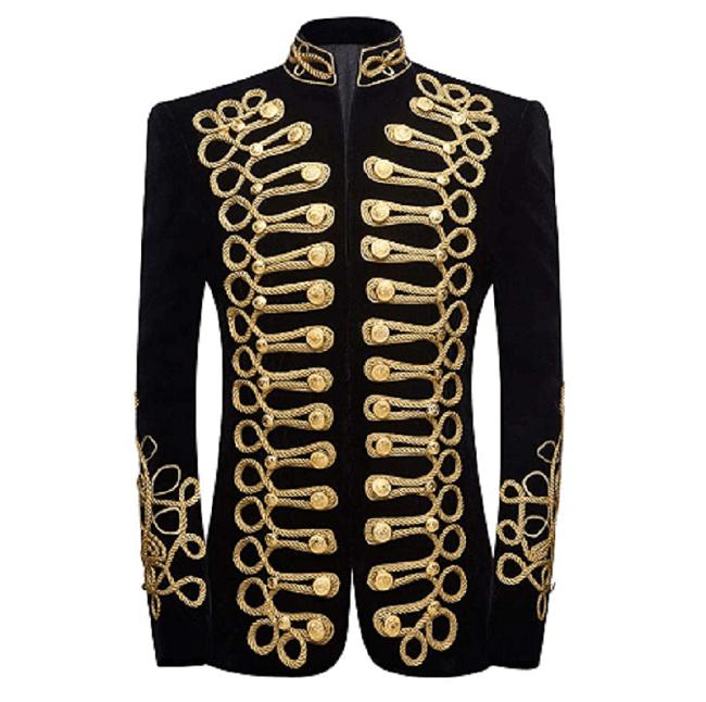 Military Velvet Black Steampunk Jacket