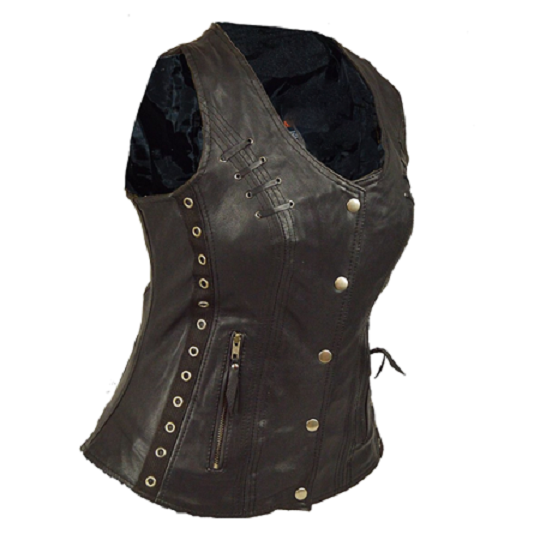 Twill and lace highlight brown vest-