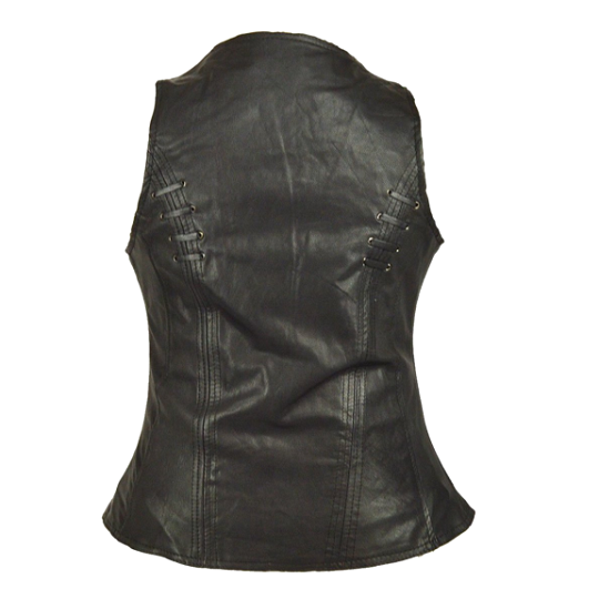 Twill and lace highlight brown vest.