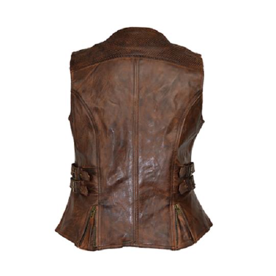 Vintage brown buckled leather vest-
