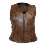 Vintage brown buckled leather vest