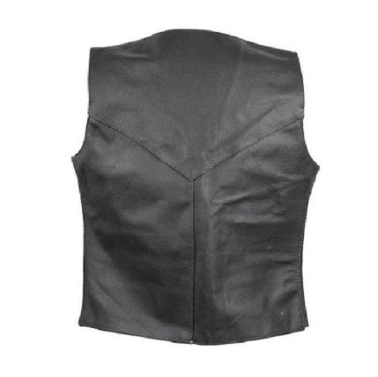 Women Black V-neck Biker Leather Vest-