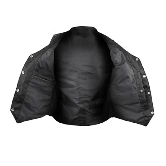 Women Black V-neck Biker Leather Vest.