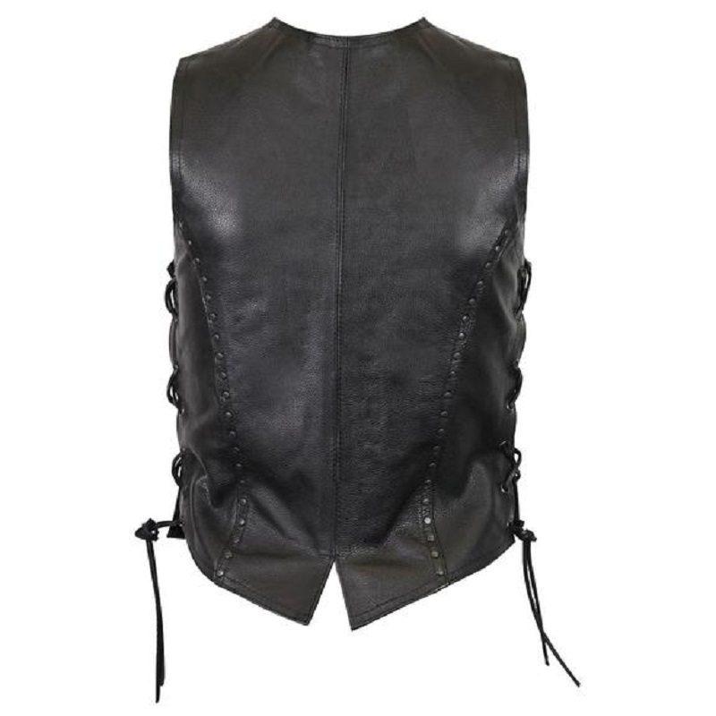 Women premium cowhide studded leather vest-