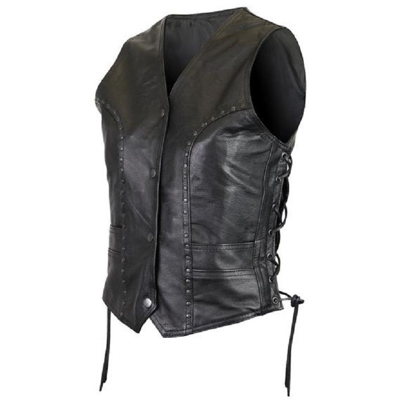 Women premium cowhide studded leather vest