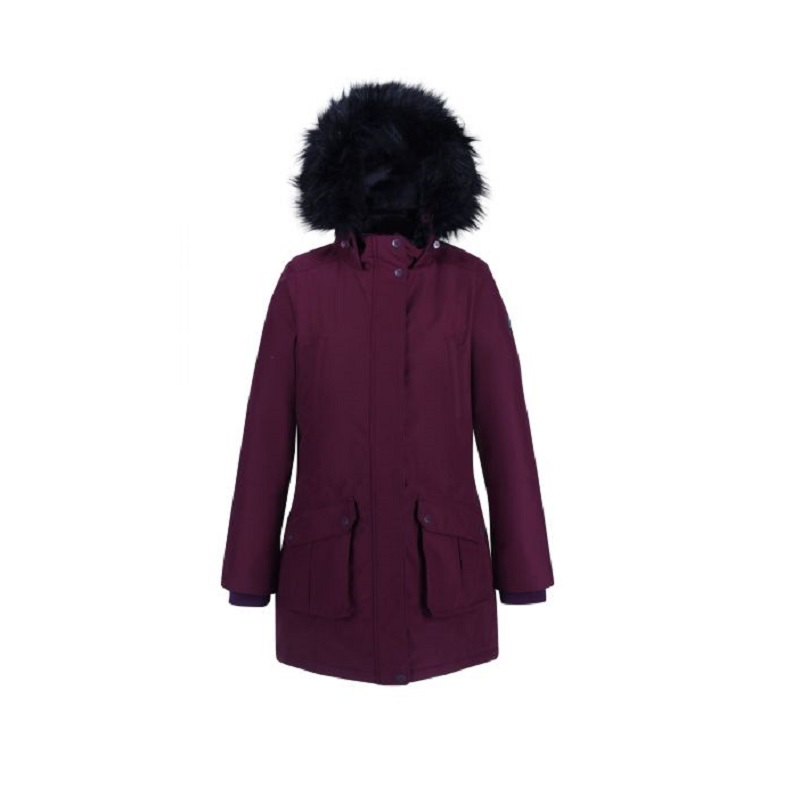 Insulated trimmed burgundy parka jacket